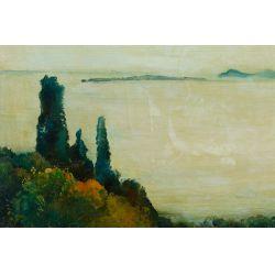 """View 2: Willem Van Den Berg (Dutch 1886-1970) """"Garden in Fasano"""" Oil on Board"""