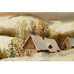 """View 2: Matthew F. Kousal (Canadian, 1902-1990) """"Winter"""" Oil on Canvas Board"""