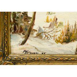 """View 3: Matthew F. Kousal (Canadian, 1902-1990) """"Winter"""" Oil on Canvas Board"""