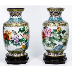 View 4: Asian Cloisonne Vases on Wood Stands