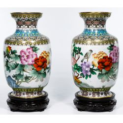 View 3: Asian Cloisonne Vases on Wood Stands