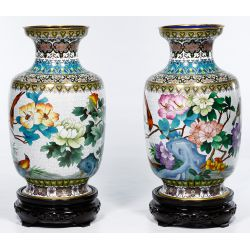 View 2: Asian Cloisonne Vases on Wood Stands