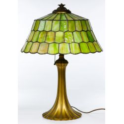 View 2: Unique Slag Glass Shade on Miller Base Table Lamp