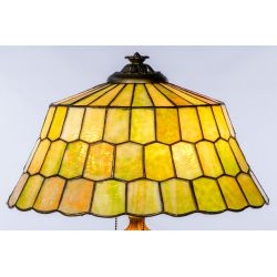 View 3: Unique Slag Glass Shade on Miller Base Table Lamp