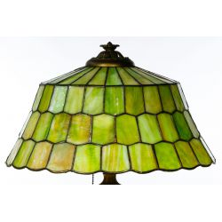 View 4: Unique Slag Glass Shade on Miller Base Table Lamp