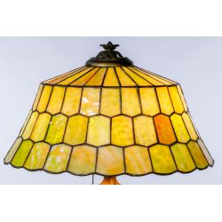 View 5: Unique Slag Glass Shade on Miller Base Table Lamp