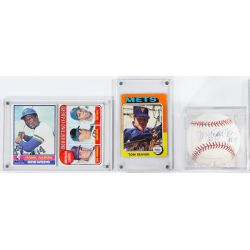 View 5: Mickey Mantle Signature, Baseball and Football Card Assortment