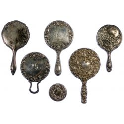 View 4: Sterling Silver and European Silver Vanity Mirror Assortment