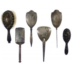 View 2: Sterling Silver and European Silver Vanity Handled Brush Assortment