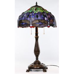 "View 2: Stained Glass Style ""Dragonfly"" Shade Table Lamp"