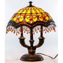 View 3: Stained Glass Style Ceiling Fixture and Table Lamp