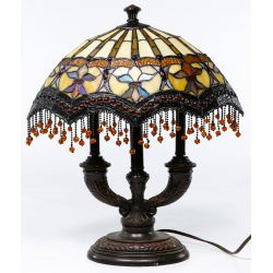 View 4: Stained Glass Style Ceiling Fixture and Table Lamp