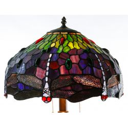 "View 3: Stained Glass Style ""Dragonfly"" Shade Table Lamp"