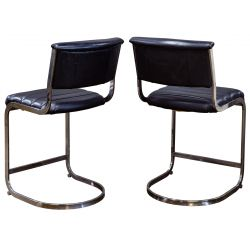 View 2: (Style of) Milo Baughman Leather Counter Stools