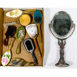 View 2: Compact, Vanity Mirror and Brush Assortment
