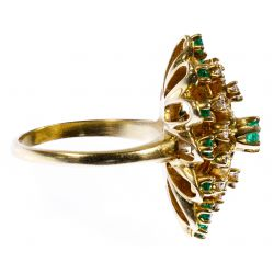 View 2: 14k Gold, Emerald and Diamond Ring