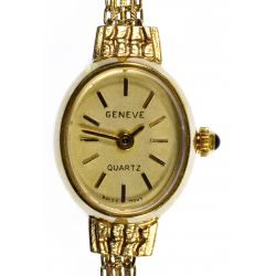 View 2: Geneve 10k Gold Wrist Watch on 14k Gold Band