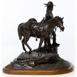 "View 4: Jack Riley (American, 20th Century) ""The Pathfinder"" Bronze Statue"