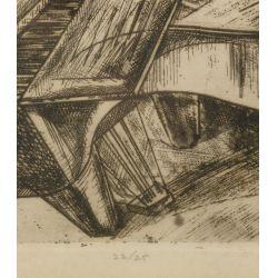 """View 4: Gyula Zilzer (Hungarian / American, 1898-1969) """"Pianist-Paris"""" Etching"""