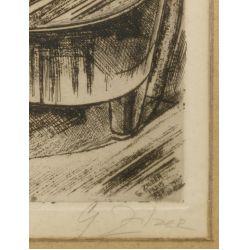 """View 3: Gyula Zilzer (Hungarian / American, 1898-1969) """"Pianist-Paris"""" Etching"""