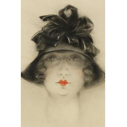 """View 3: Louis Icart (French, 1888–1950) """"Lady with Black Hat"""" Aquatint Etching"""