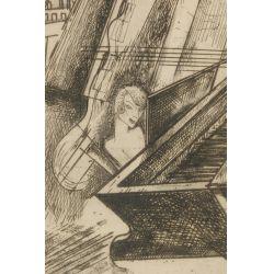 """View 2: Gyula Zilzer (Hungarian / American, 1898-1969) """"Pianist-Paris"""" Etching"""