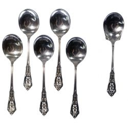 """View 2: Wallace """"Rose Point"""" Sterling Silver Flatware Service"""