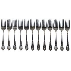 """View 7: Wallace """"Rose Point"""" Sterling Silver Flatware Service"""
