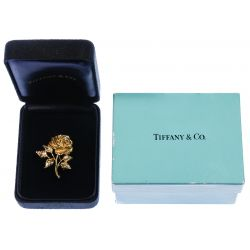 View 3: Tiffany & Co 14k Gold and Diamond Rose Pin