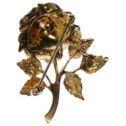 View 2: Tiffany & Co 14k Gold and Diamond Rose Pin