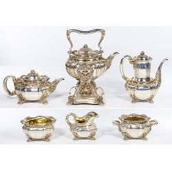 """View 2: Tiffany & Co. """"Chrysanthemum"""" Sterling Silver Tea and Coffee Service"""