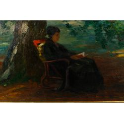 """View 2: Otto Peters (Austrian, 1858-1908) """"Under the Trees"""" Oil on Canvas"""