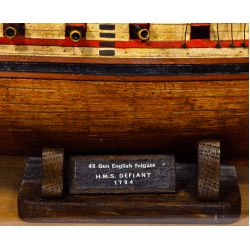 View 2: Wooden Ship Model in Display Case