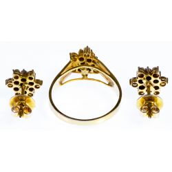 View 2: 14k Gold and Diamond Ring and Earring Set
