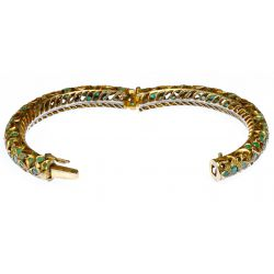 View 2: Indian Emerald and Brass Hinged Bangle Bracelet