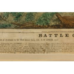 "View 4: William Emmons ""The Battle of the Thames"" Hand Colored Lithographic Broadside"