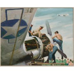 View 2: World War II US Naval Aviation Acrylic on Canvas Board Paintings