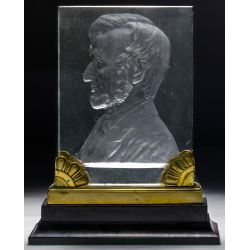 "View 2: (Attributed to) Steuben ""Abraham Lincoln"" Glass Plaque"