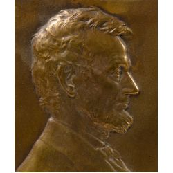 """View 2: Victor David Brenner (American, 1871-1924) """"Abraham Lincoln"""" Bronze Plaque"""