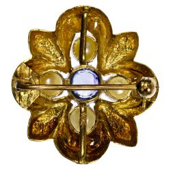 View 2: 18k Gold, Pearl and Sapphire Brooch