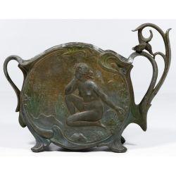 View 2: Jean Garnier (French, 19th Century) Cast Metal Art Nouveau Vase