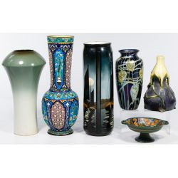 View 2: Pottery and Art Glass Vase and Bowl Assortment