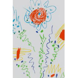 """View 2: Pablo Picasso (Spanish, 1881-1973) """"Flowers for UCLA"""" Lithograph"""