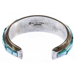 View 2: Michael NaNa Ping Sterling Silver and Turquoise Cuff Bracelet