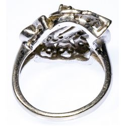 View 3: 14k White Gold and Diamond Calla Lily Ring