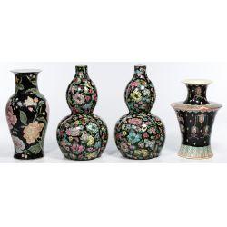 View 2: Asian Famille Noire Style Vase Assortment