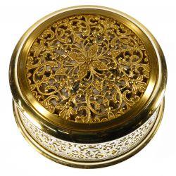 View 2: Le Coultre Brass Filigree Travel / Desk Clock