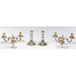 View 2: Emile Puiforcat Silverplated Candle Holders