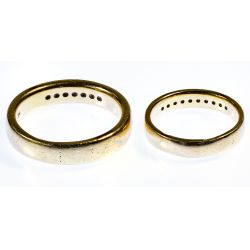 View 2: 14k Gold and Diamond Band Rings