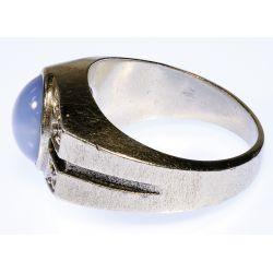 View 2: Platinum, Star Sapphire and Diamond Ring